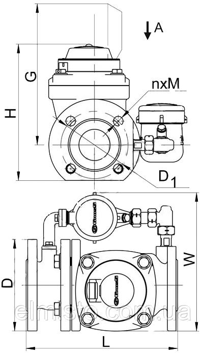 Габариты водосчетчика Gross WPVD-UA 50/15 Dn50