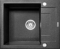 Мойка 1-камерная с полкой RAPIDO, графитовый гранит, 590х490х190 мм