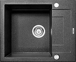 Мийка 1-камерна з полицею Deante RAPIDO, графітовий граніт, 590х490х190 мм