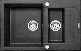 Мийка 1,5-камерна з полицею Deante RAPIDO, графітовий граніт, 780х490х190 мм