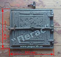 Дверка + отражатель чугунное литье (330х360 мм) грубу, барбекю, печи, мангал, фото 1