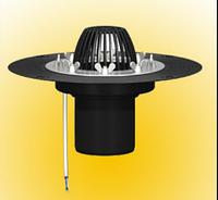 Покрівельна воронка з притискним н/ж фланцем і підігрівом ДУ 110 L-100мм