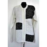 Женская теплая кофта на молнии в черно - белом цвете, производство Индия