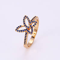 Кольцо 12049 размер 21, синие камни, позолота 18К, фото 1