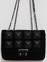 Клатч шипы замшевый черный, фото 1