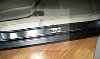 Защитные хром накладки на пороги Subaru Outback (субару аутбек 1999-2004)