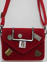 Клатч замшевый бренд красный, фото 1