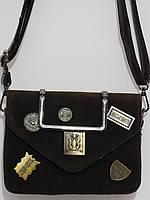 Клатч замшевый бренд темно-коричневый, фото 1