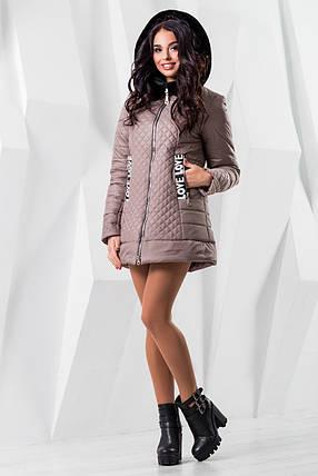 Женская бежевая демисезонная куртка р. 44-54 арт. 969 Тон 10, фото 2