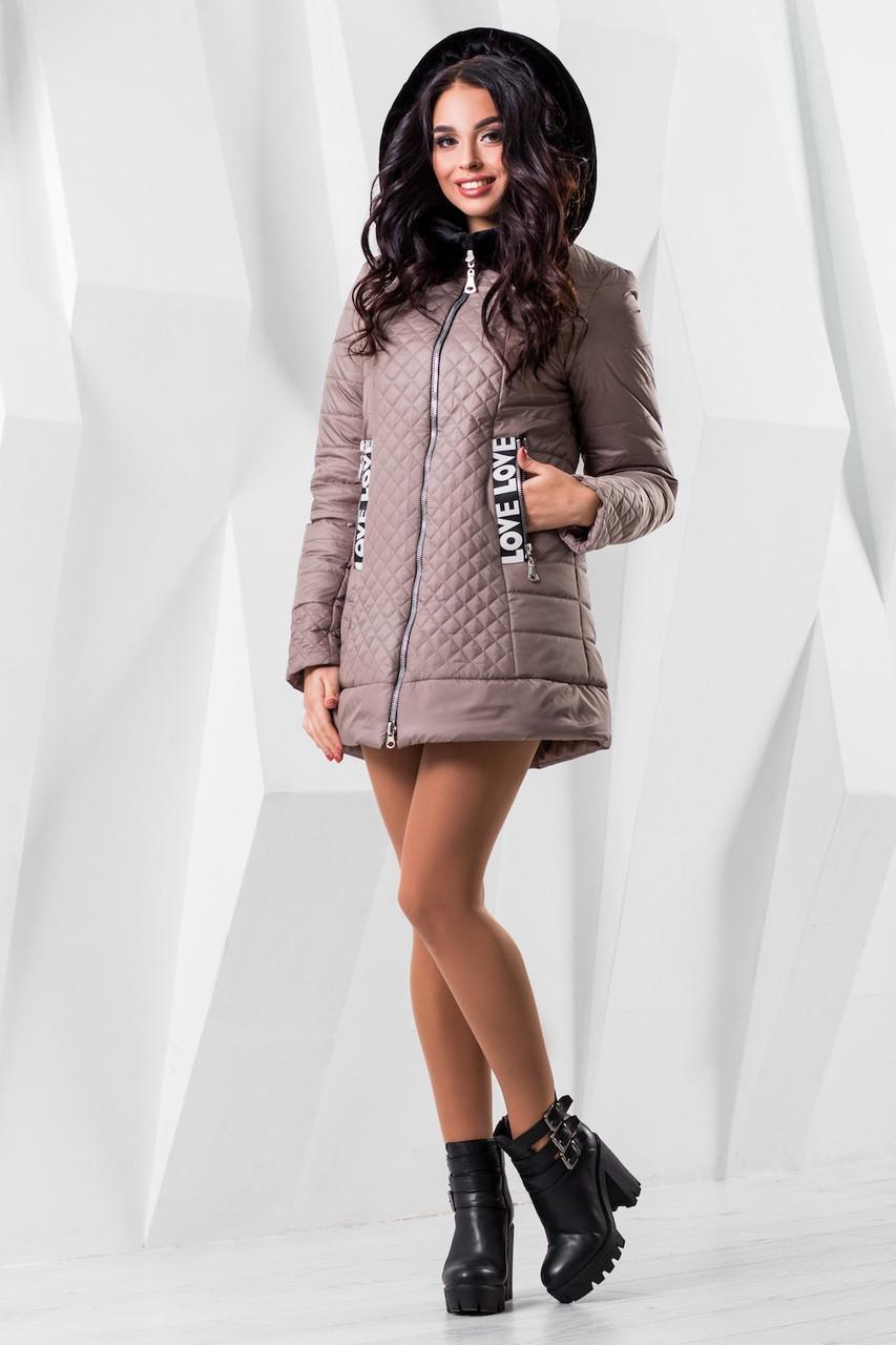 Женская бежевая демисезонная куртка р. 44-54 арт. 969 Тон 10