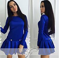 Платье с плиссерованным низом, цвет электрик. Арт-8673/70