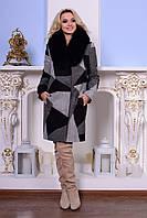 Женское зимнее пальто с мехом р. (S-XXXL) арт. Микадо принт шерсть песец 7501