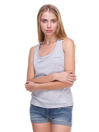 Майка женская с карманом, светло серая, фото 2