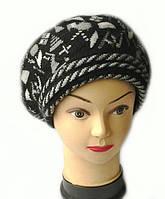 Берет женский вязаный Арина шерсть натуральная цвет черный