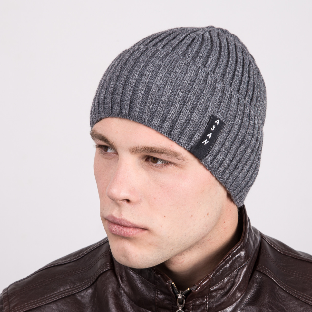 Вязаная мужская шапка с отворотом - Артикул m3a