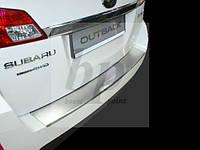 Защитная хром накладка на задний бампер с загибом Subaru Outback IV BM (субару аутбек 2009-2014)