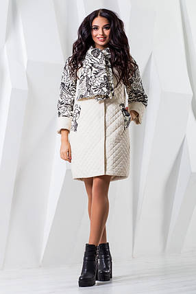 Женское белое демисезонное пальто р. 44-60 арт. 971 Тон 8, фото 2