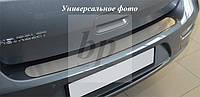 Защитная хром накладка на задний бампер (планка без загиба) Subaru forester II (субару форестер 2002-2008)
