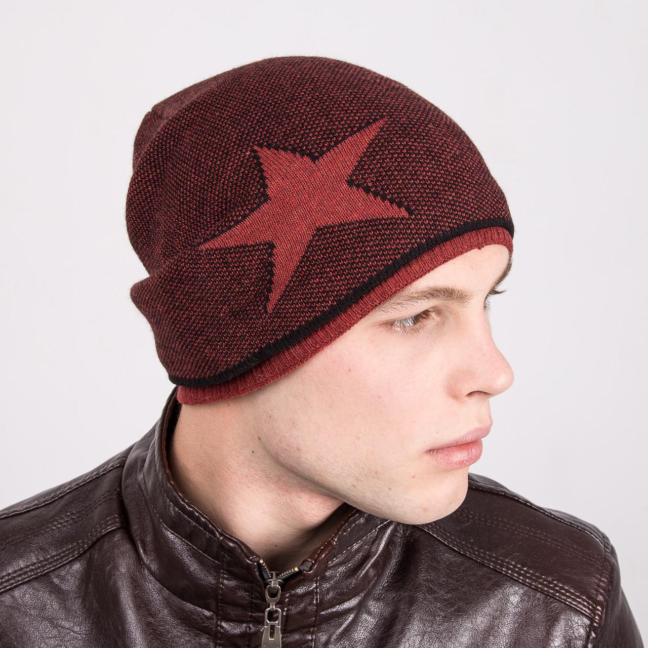 Мужская шапка колпак вязаная на флисе - Рок стар - Артикул m7b
