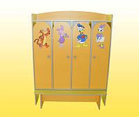 Шкаф 4 -х дверный для раздевалки, со скамейкой 1240х350х1560 мм