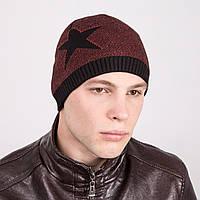 Мужская вязаная шапка-колпак двойная на флисе - Артикул m8b