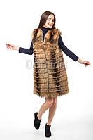 Жилет из меха енота  - 05040 длина 85 см