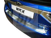 Защитная хром накладка на задний бампер (планка без загиба) Subaru Impreza III GR (субару импреза 2008+)