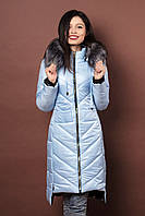 Зимняя женская молодежная куртка. Код К-77-12-17. Цвет светло голубой.