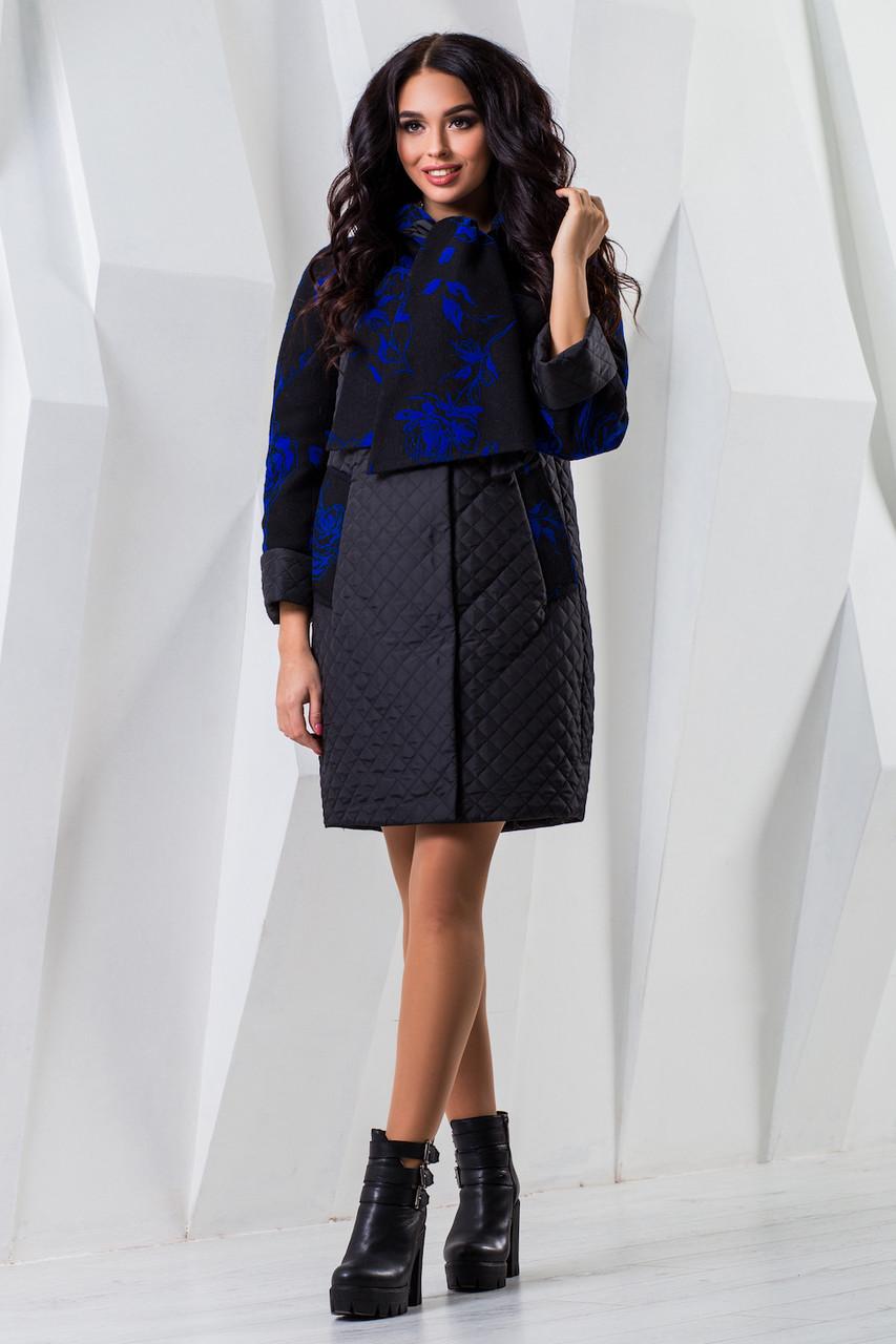Женское черное осеннее пальто р. 44-60 арт. 971 Тон 2
