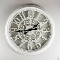 "Часы настенные ""Прованс5"", белые патина, 51 см."