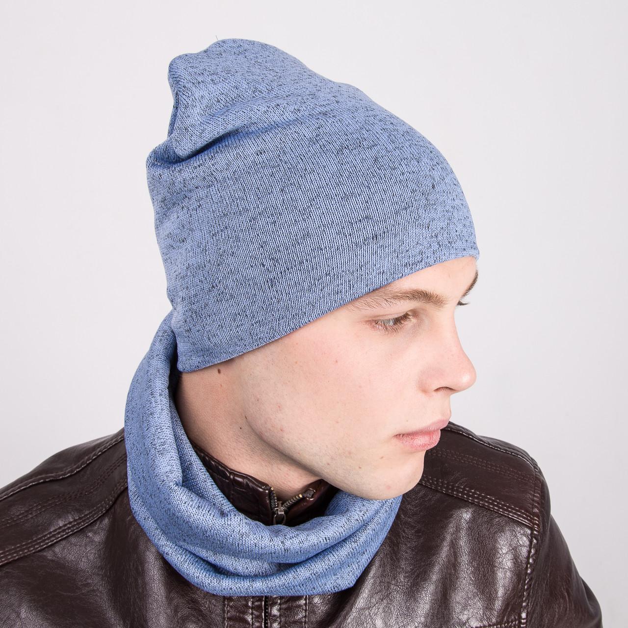 Зимний мужской комплект из шапки и хомута - Артикул k1b