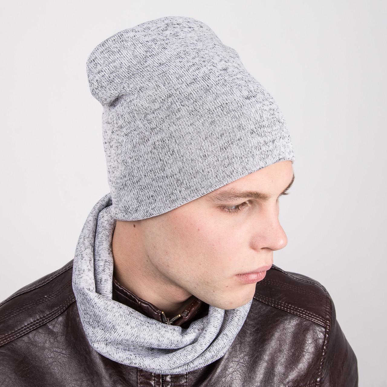 Зимний мужской комплект из шапки и хомута - Артикул k1c