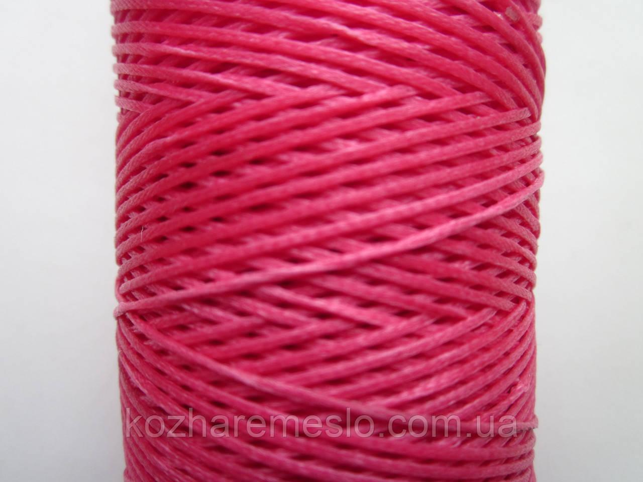 Нить вощёная плоская 0,8 мм розовая 125 метров