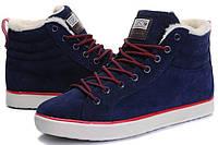 Мужские зимние кроссовки Adidas Ransom Fur высокие синие замша мех