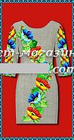 Платье для женщин, заготовка для вышивки, габардин-лен,  до 52 р, 390/350 (цена за 1 шт. + 40 гр.)