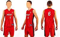 Форма баскетбольная подростковая NBA HEAT 6 CO-0038-12 (PL, р-р М-XL, красный)