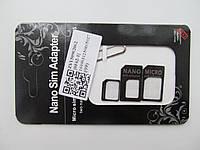 Адаптер, переходник для sim-карт (micro sim - nano sim, mini sim - micro sim, mini sim - nano sim) + скрепка