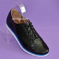 Женские туфли на утолщенной белой подошве, на шнуровке, натуральная кожа с тиснением питон., фото 1