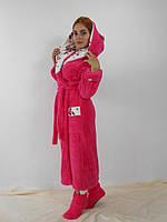 Махровый халат женский длинный с капюшоном