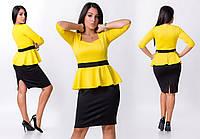 Женское платье с баской двухцветное