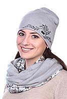 Шапка женская трикотажная серая
