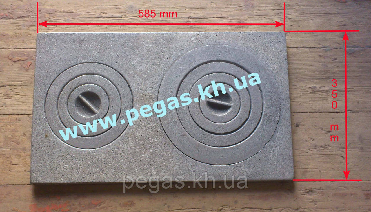 Плита чугунная на две конфорки (350х585мм)
