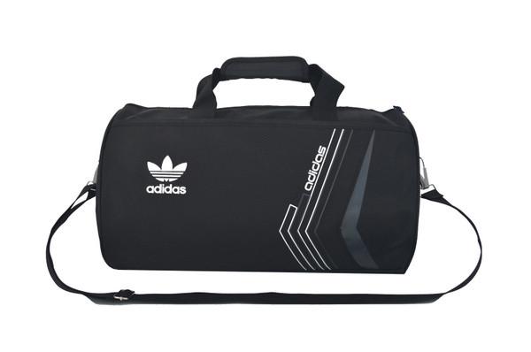 Спортивная сумка Adidas черная с белым логотипом (реплика)