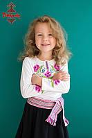 Вишиванка для дівчинки Маки рожеві з довгим рукавом