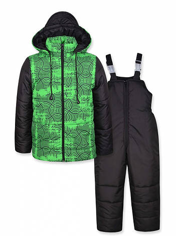 Теплый зимний комбинезон на мальчика - куртка на овчине и полукомбинезон, фото 2