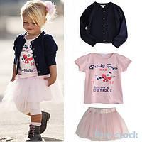 Набор для девочки из трех единиц юбка, футболка и кофта