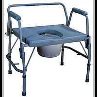 Стул-туалет усиленный с откидными подлокотниками (для людей с избыточным весом)