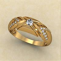 Модное золотое кольцо 585* пробы с кубическим цирконием