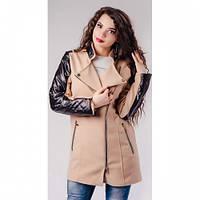 Пальто женские из кашемира с эко-кожей Рита 433 бежевое