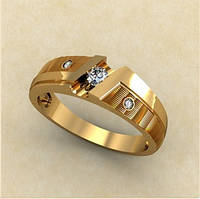 Модное женское золотое кольцо 585* пробы с кубическим цирконием